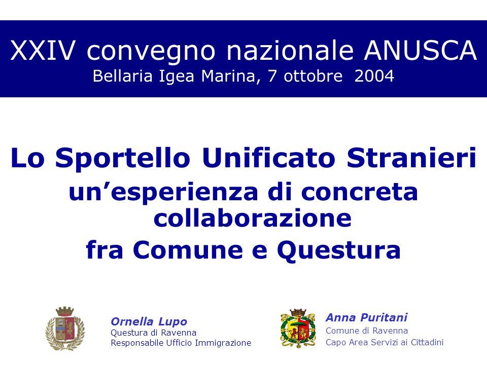 XXIV convegno nazionale ANUSCA Bellaria Igea Marina, 7 ottobre 2004 Lo Sportello Unificato Stranieri unesperienza di concreta collaborazione fra Comun