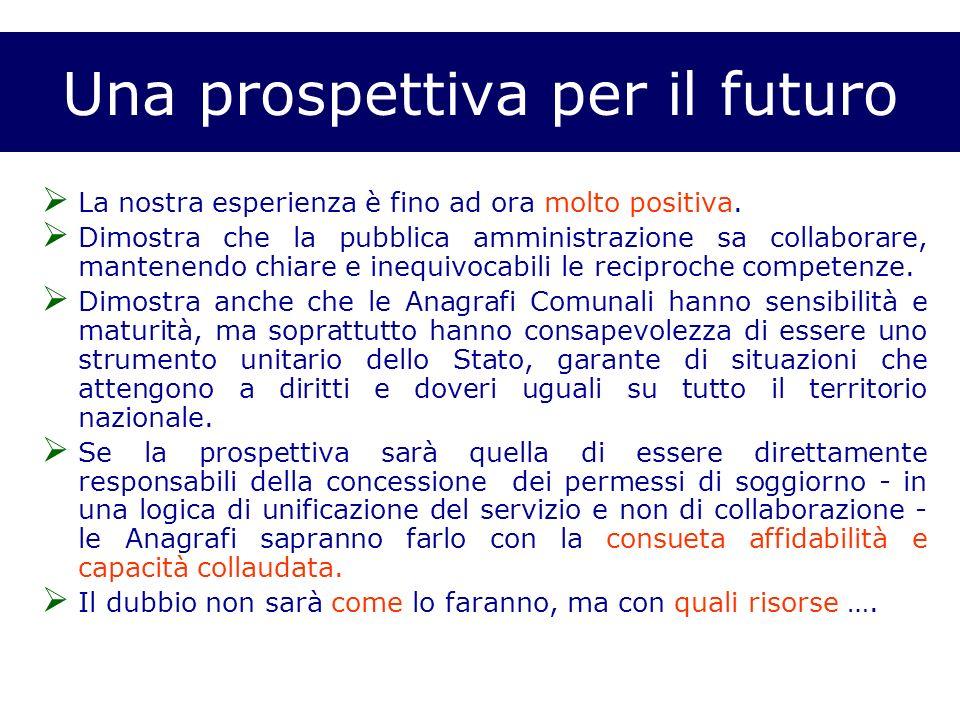 Una prospettiva per il futuro La nostra esperienza è fino ad ora molto positiva.