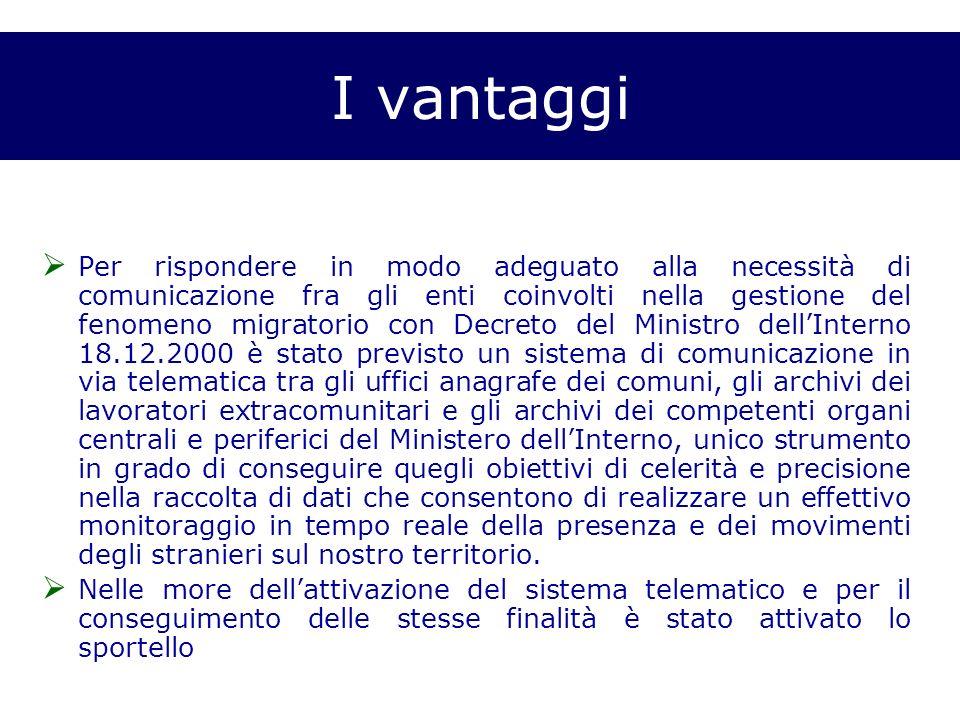 I vantaggi Per rispondere in modo adeguato alla necessità di comunicazione fra gli enti coinvolti nella gestione del fenomeno migratorio con Decreto d