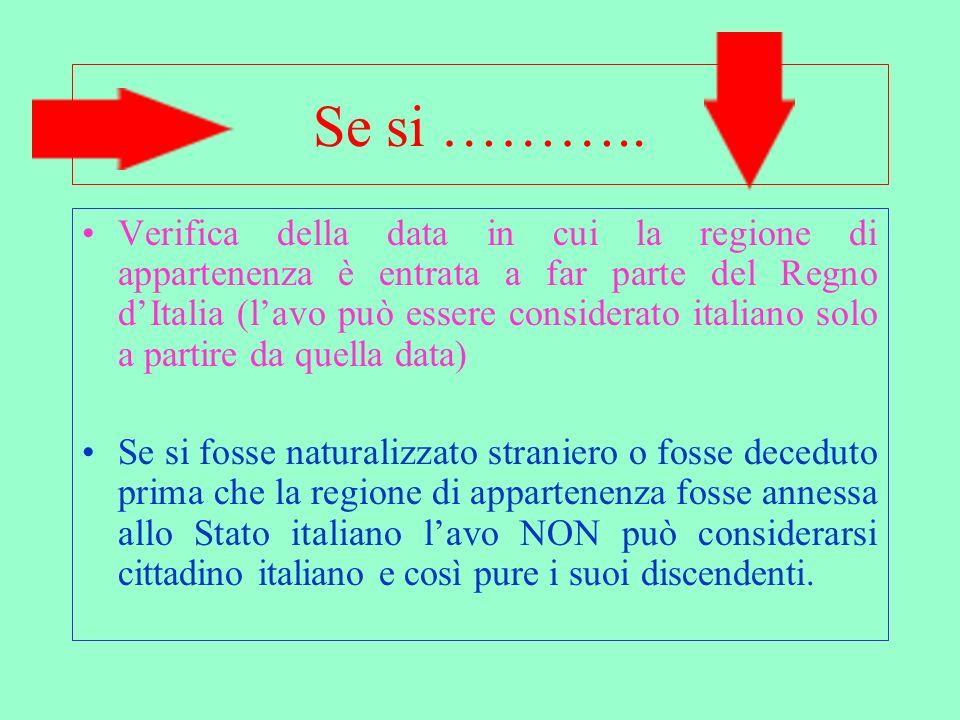Verifica e analisi situazione avo emigrato allestero Lavo è partito prima o dopo lannessione della sua regione allo Stato Italiano?