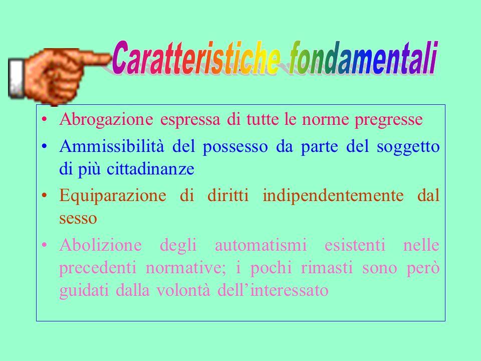 Lelezione della cittadinanza da parte dello straniero presuppone una manifestazione di volontà dello stesso; La dichiarazione deve essere accompagnata dallaccertamento dei requisiti.