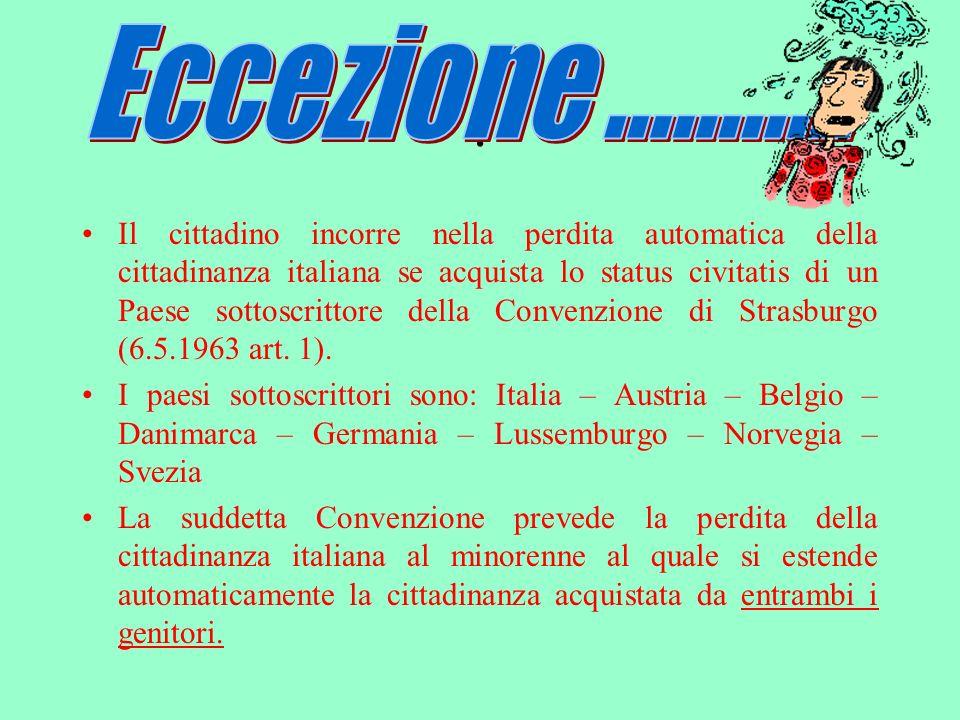 La normativa vigente ha ridotto sensibilmente i casi di perdita della cittadinanza italiana.
