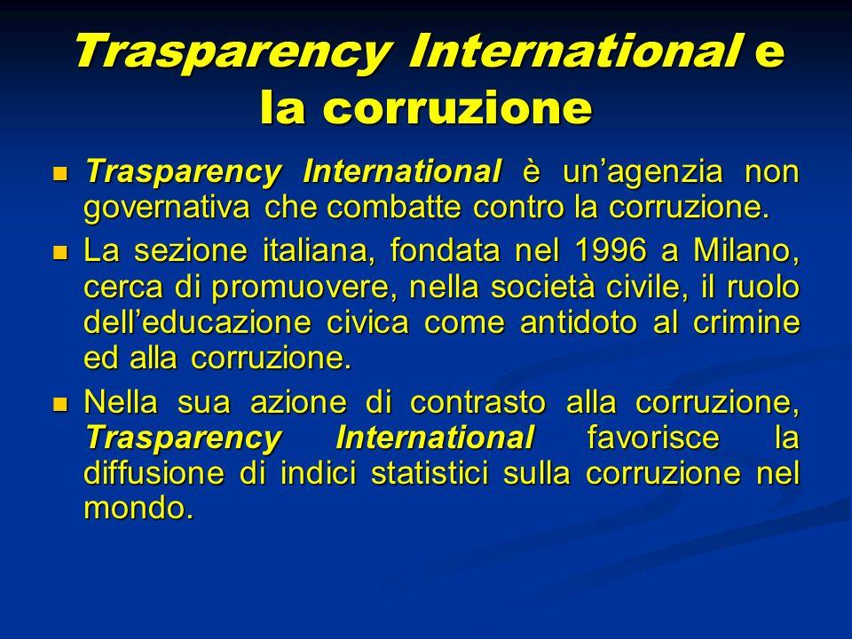 Indici sulla corruzione Gli indici statistici più importanti sulla corruzione sono: Gli indici statistici più importanti sulla corruzione sono: 1) lindice di percezione della corruzione (CPI); 2) lindice di pagamento di tangenti (BPI); 3) il Barometro globale sulla corruzione.