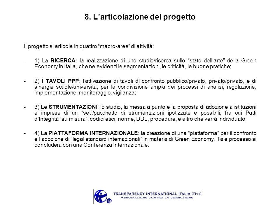 8. Larticolazione del progetto Il progetto si articola in quattro macro-aree di attività: -1) La RICERCA: la realizzazione di uno studio/ricerca sullo