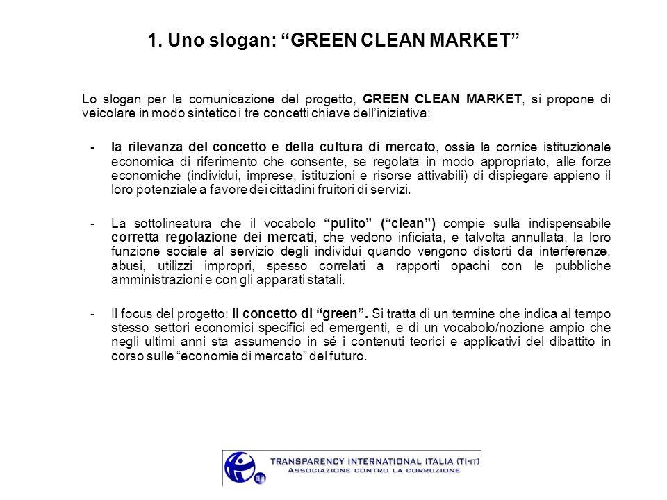 1. Uno slogan: GREEN CLEAN MARKET Lo slogan per la comunicazione del progetto, GREEN CLEAN MARKET, si propone di veicolare in modo sintetico i tre con