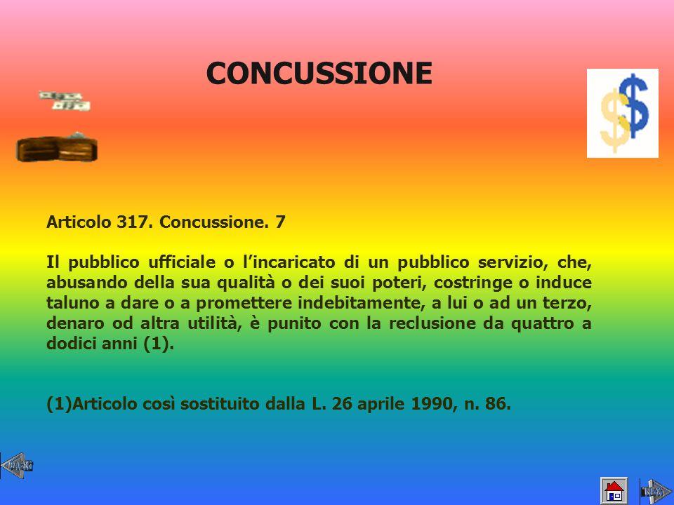 CONCUSSIONE Articolo 317. Concussione. 7 Il pubblico ufficiale o lincaricato di un pubblico servizio, che, abusando della sua qualità o dei suoi poter