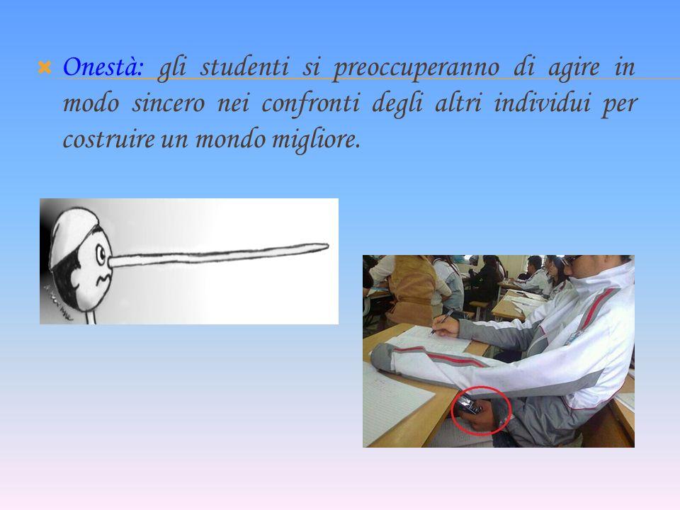 Onestà: gli studenti si preoccuperanno di agire in modo sincero nei confronti degli altri individui per costruire un mondo migliore.