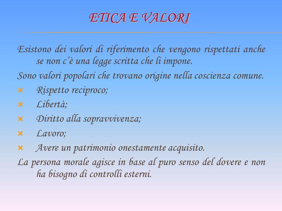 ETICA E VALORI Esistono dei valori di riferimento che vengono rispettati anche se non cè una legge scritta che li impone.