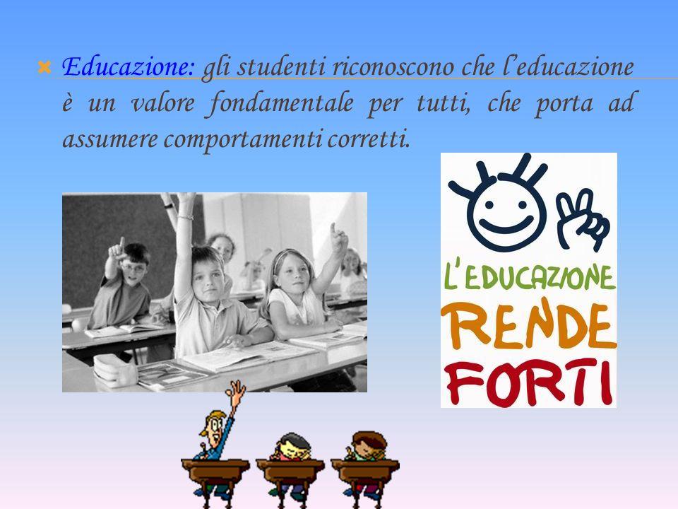 Educazione: gli studenti riconoscono che leducazione è un valore fondamentale per tutti, che porta ad assumere comportamenti corretti.