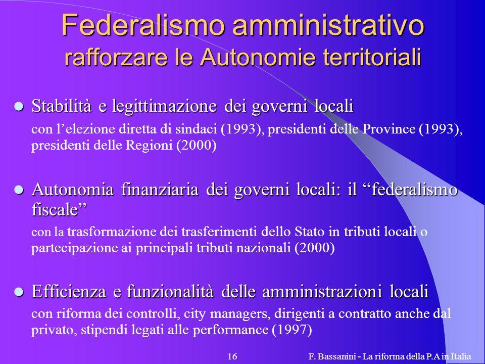 F. Bassanini - La riforma della P.A in Italia16 Federalismo amministrativo rafforzare le Autonomie territoriali Stabilità e legittimazione dei governi