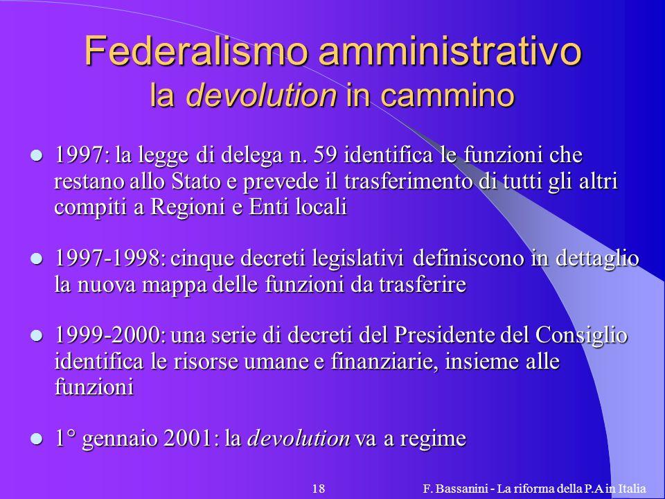 F. Bassanini - La riforma della P.A in Italia18 Federalismo amministrativo la devolution in cammino 1997: la legge di delega n. 59 identifica le funzi