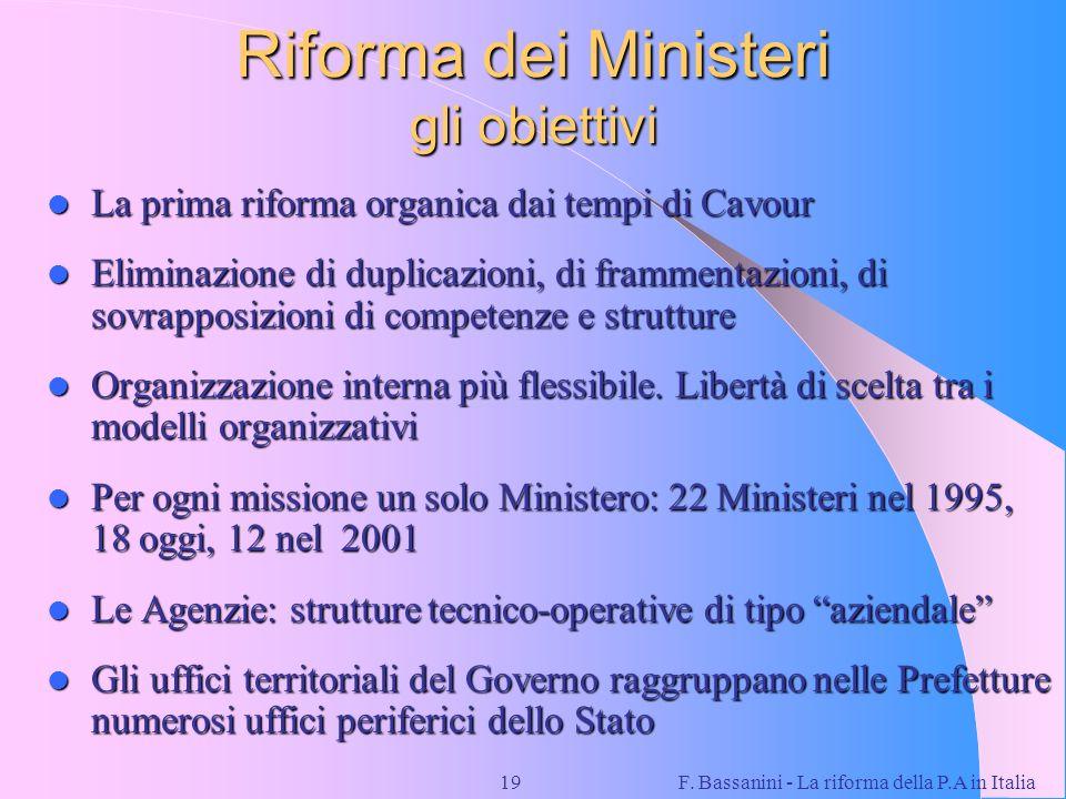 F. Bassanini - La riforma della P.A in Italia19 Riforma dei Ministeri gli obiettivi La prima riforma organica dai tempi di Cavour La prima riforma org