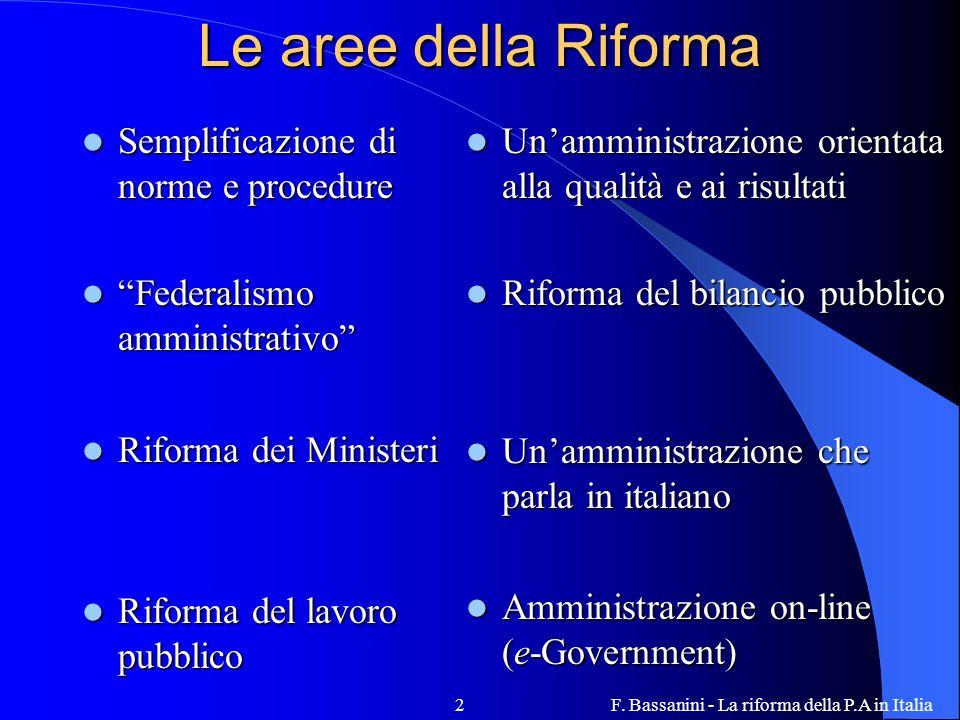 F. Bassanini - La riforma della P.A in Italia2 Le aree della Riforma Semplificazione di norme e procedure Semplificazione di norme e procedure Federal