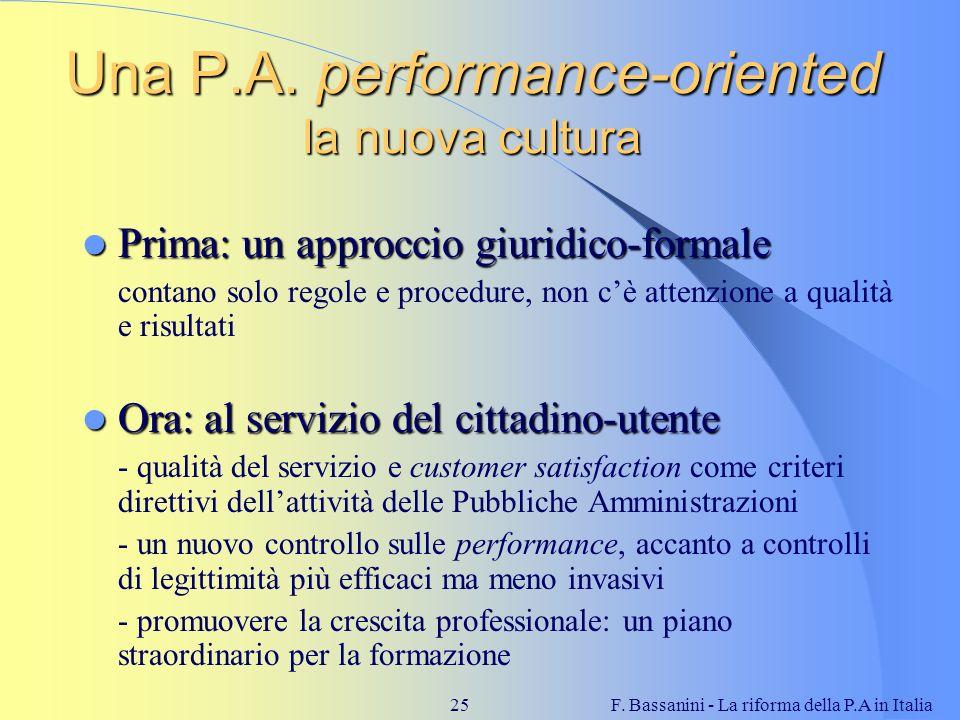 F. Bassanini - La riforma della P.A in Italia25 Una P.A. performance-oriented la nuova cultura Prima: un approccio giuridico-formale Prima: un approcc