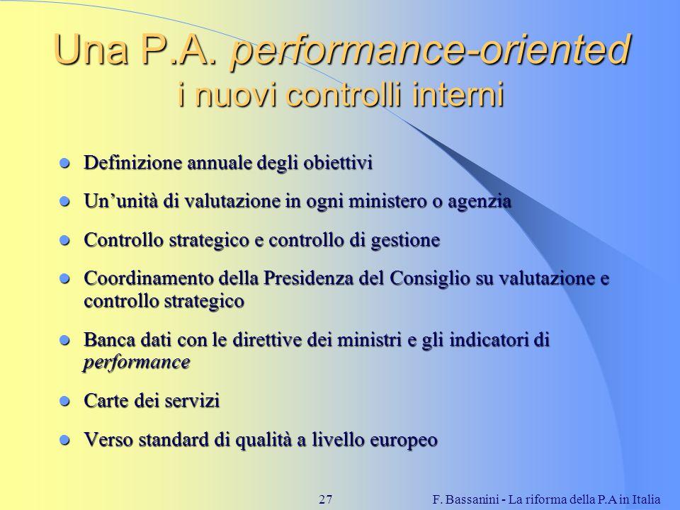 F. Bassanini - La riforma della P.A in Italia27 Una P.A. performance-oriented i nuovi controlli interni Definizione annuale degli obiettivi Definizion