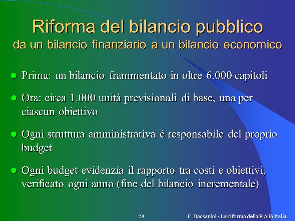 F. Bassanini - La riforma della P.A in Italia28 Riforma del bilancio pubblico da un bilancio finanziario a un bilancio economico Prima: un bilancio fr