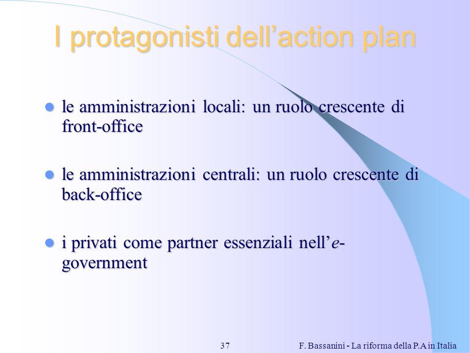 F. Bassanini - La riforma della P.A in Italia37 I protagonisti dellaction plan le amministrazioni locali: un ruolo crescente di front-office le ammini