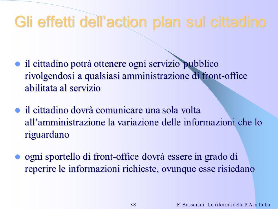 F. Bassanini - La riforma della P.A in Italia38 Gli effetti dellaction plan sul cittadino il cittadino potrà ottenere ogni servizio pubblico rivolgend