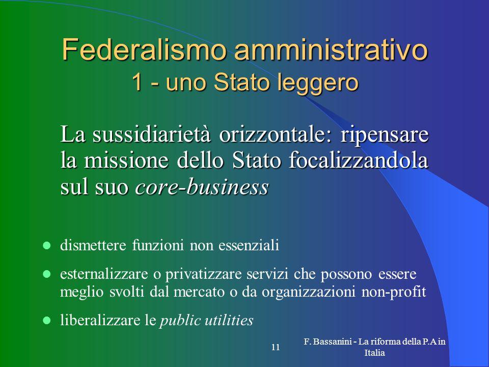 F. Bassanini - La riforma della P.A in Italia 11 Federalismo amministrativo 1 - uno Stato leggero La sussidiarietà orizzontale: ripensare la missione