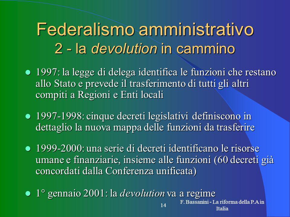 F. Bassanini - La riforma della P.A in Italia 14 Federalismo amministrativo 2 - la devolution in cammino 1997: la legge di delega identifica le funzio