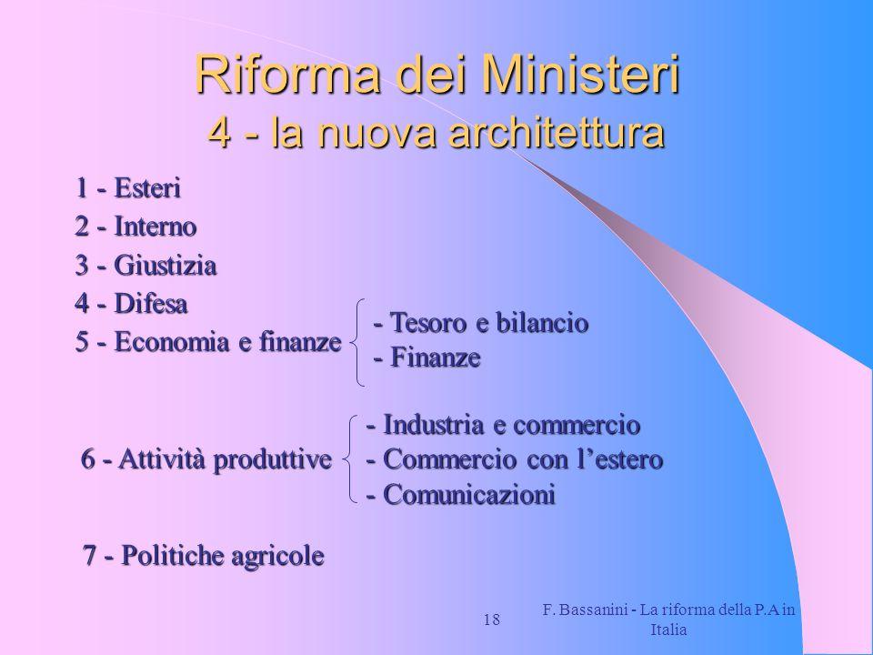 F. Bassanini - La riforma della P.A in Italia 18 Riforma dei Ministeri 4 - la nuova architettura 1 - Esteri 2 - Interno 3 - Giustizia 4 - Difesa 5 - E