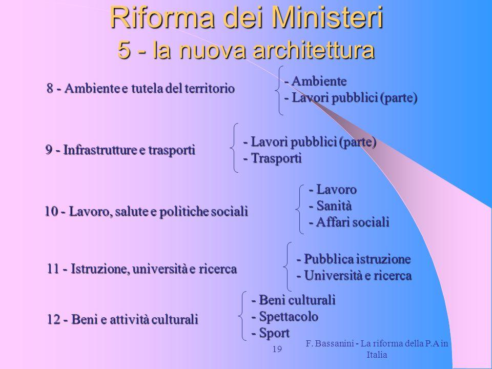 F. Bassanini - La riforma della P.A in Italia 19 Riforma dei Ministeri 5 - la nuova architettura 8 - Ambiente e tutela del territorio - Ambiente - Lav