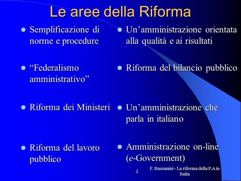 F. Bassanini - La riforma della P.A in Italia 2 Le aree della Riforma Semplificazione di norme e procedure Semplificazione di norme e procedure Federa