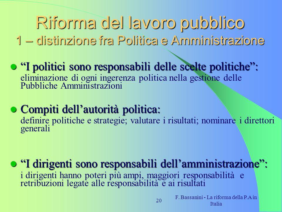 F. Bassanini - La riforma della P.A in Italia 20 Riforma del lavoro pubblico 1 – distinzione fra Politica e Amministrazione I politici sono responsabi
