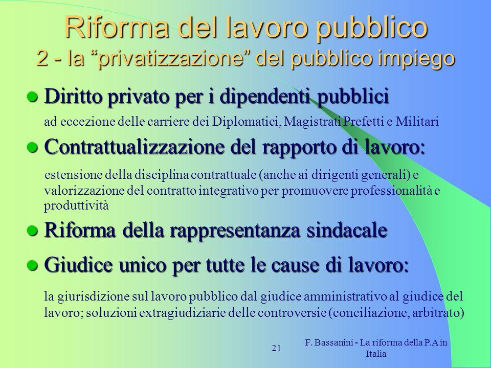 F. Bassanini - La riforma della P.A in Italia 21 Riforma del lavoro pubblico 2 - la privatizzazione del pubblico impiego Diritto privato per i dipende