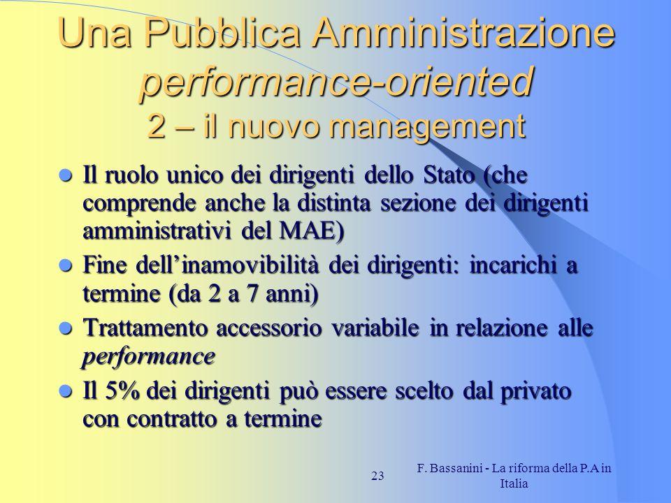 F. Bassanini - La riforma della P.A in Italia 23 Una Pubblica Amministrazione performance-oriented 2 – il nuovo management Il ruolo unico dei dirigent