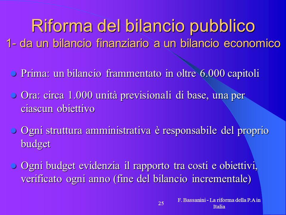 F. Bassanini - La riforma della P.A in Italia 25 Riforma del bilancio pubblico 1- da un bilancio finanziario a un bilancio economico Prima: un bilanci