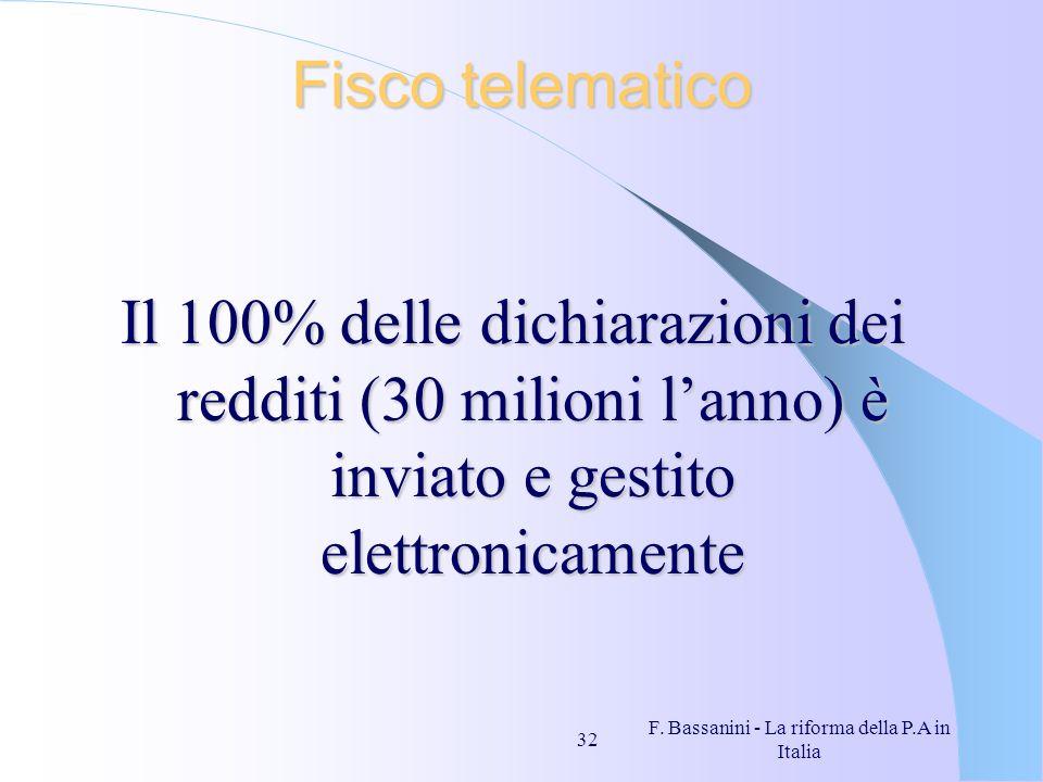 F. Bassanini - La riforma della P.A in Italia 32 Fisco telematico Il 100% delle dichiarazioni dei redditi (30 milioni lanno) è inviato e gestito elett