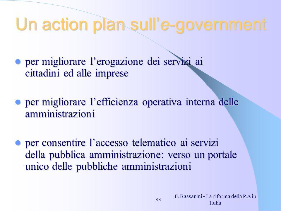F. Bassanini - La riforma della P.A in Italia 33 Un action plan sulle-government per migliorare lerogazione dei servizi ai cittadini ed alle imprese p