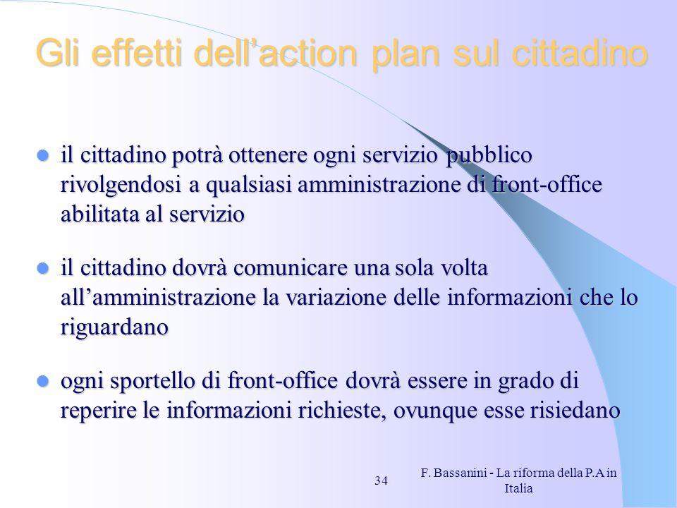 F. Bassanini - La riforma della P.A in Italia 34 Gli effetti dellaction plan sul cittadino il cittadino potrà ottenere ogni servizio pubblico rivolgen
