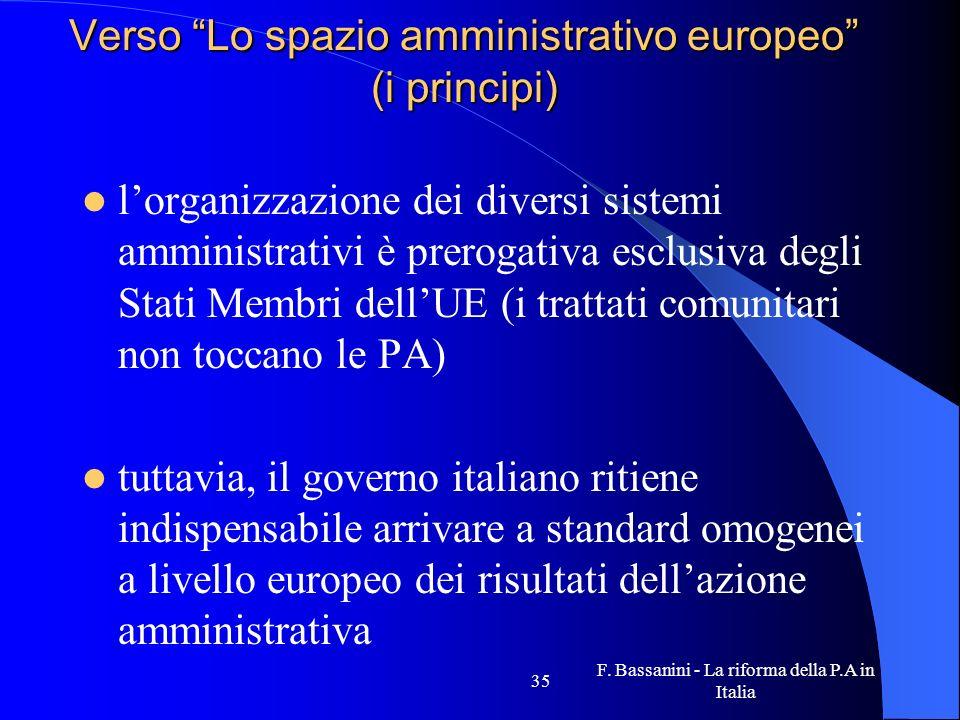 F. Bassanini - La riforma della P.A in Italia 35 Verso Lo spazio amministrativo europeo (i principi) lorganizzazione dei diversi sistemi amministrativ