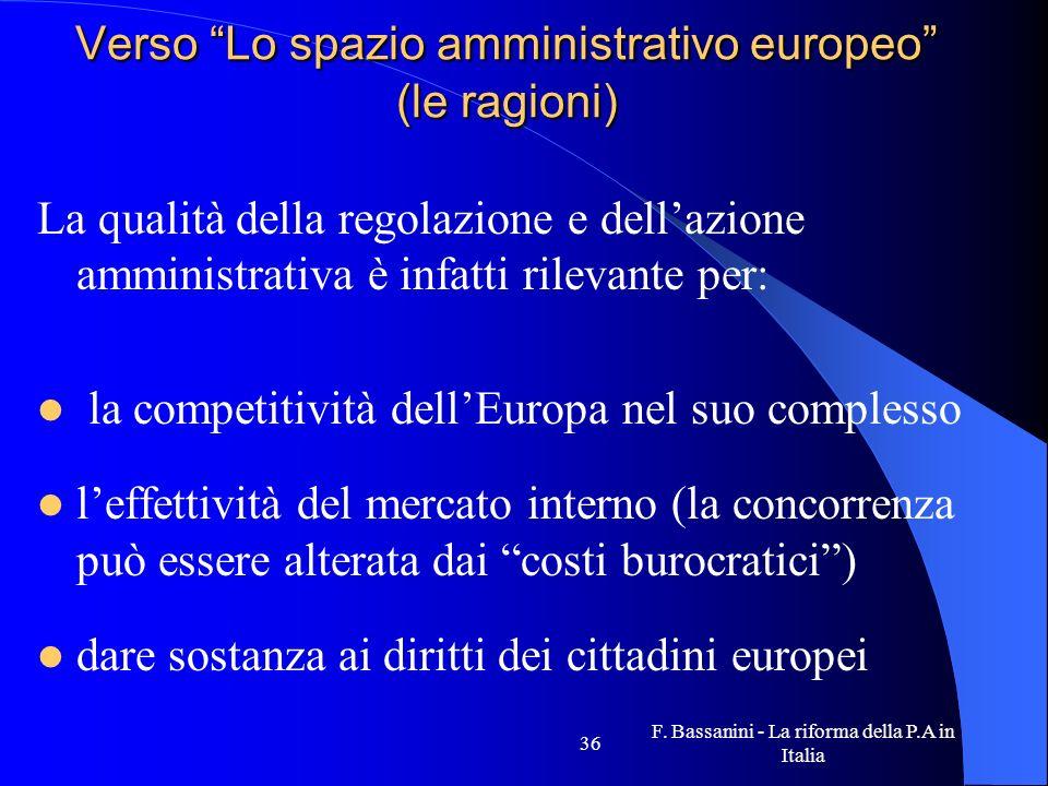 F. Bassanini - La riforma della P.A in Italia 36 Verso Lo spazio amministrativo europeo (le ragioni) La qualità della regolazione e dellazione amminis