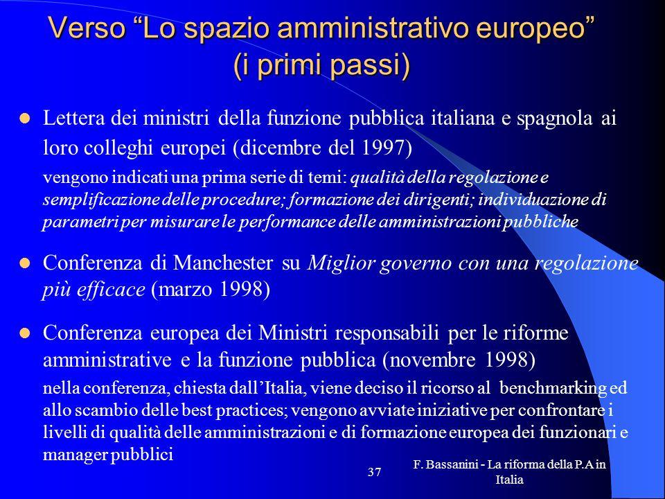 F. Bassanini - La riforma della P.A in Italia 37 Verso Lo spazio amministrativo europeo (i primi passi) Lettera dei ministri della funzione pubblica i