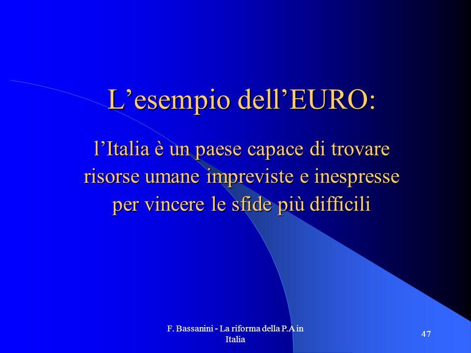F. Bassanini - La riforma della P.A in Italia 47 Lesempio dellEURO: lItalia è un paese capace di trovare risorse umane impreviste e inespresse per vin