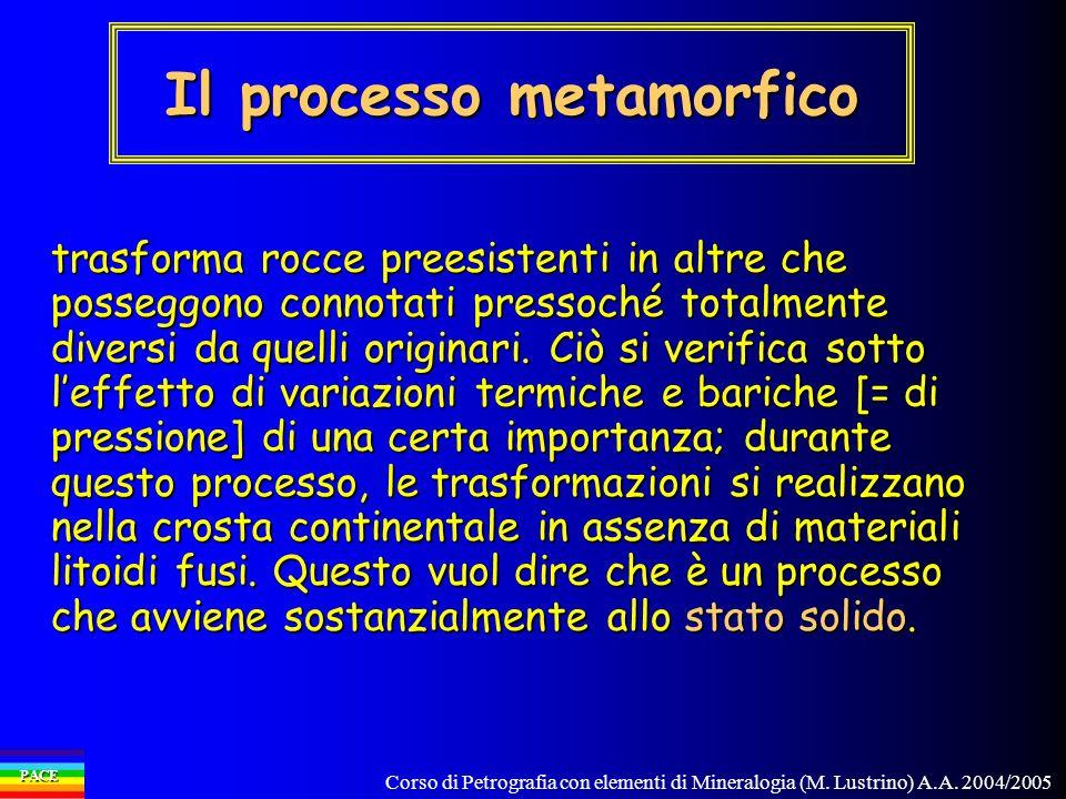 Corso di Petrografia con elementi di Mineralogia (M. Lustrino) A.A. 2004/2005 PACE trasforma rocce preesistenti in altre che posseggono connotati pres
