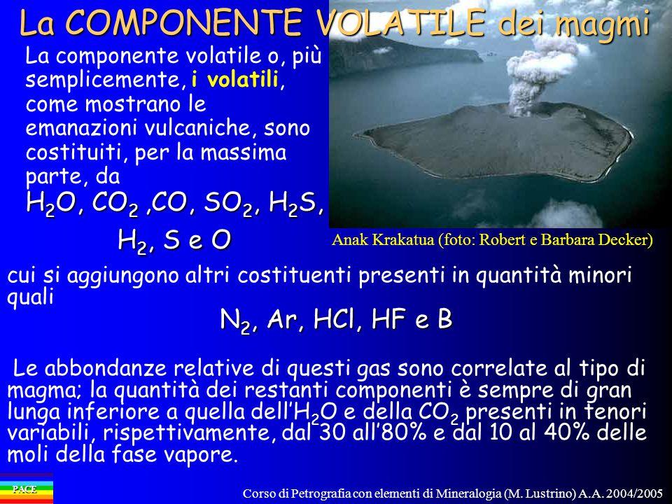 Corso di Petrografia con elementi di Mineralogia (M. Lustrino) A.A. 2004/2005 PACE La componente volatile o, più semplicemente, i volatili, come mostr