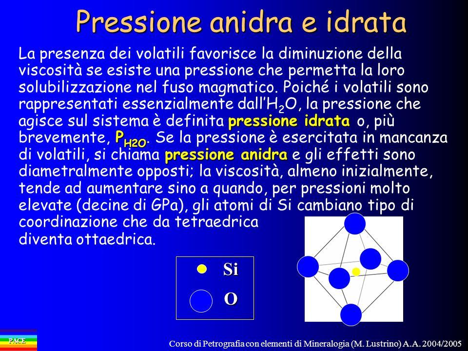 Corso di Petrografia con elementi di Mineralogia (M. Lustrino) A.A. 2004/2005 PACE Pressione anidra e idrata pressione idrata P H2O pressione anidra L