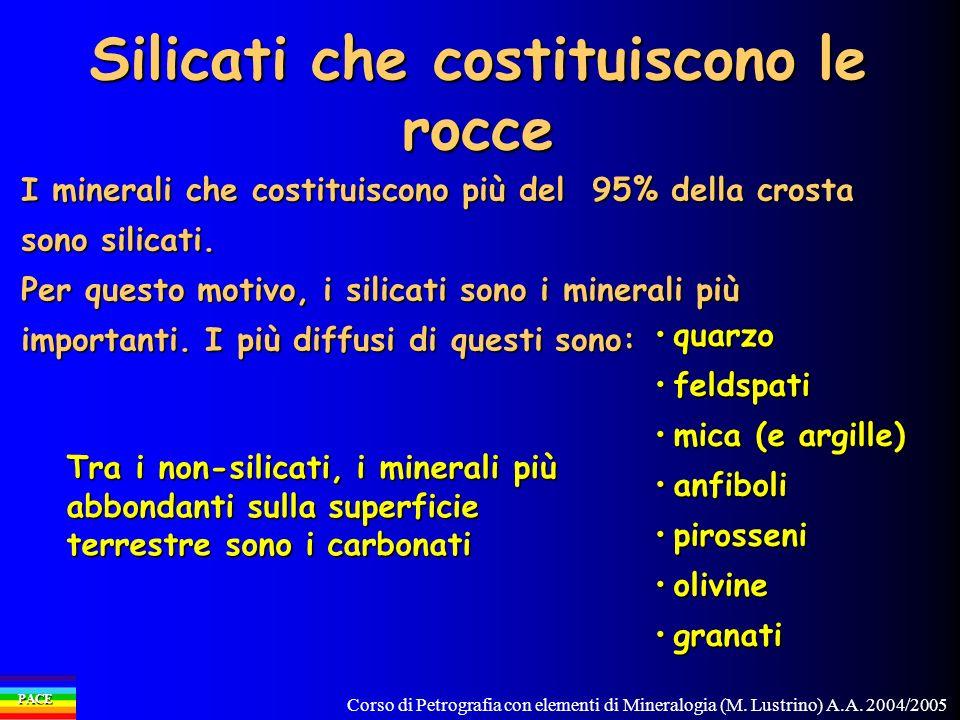 Corso di Petrografia con elementi di Mineralogia (M. Lustrino) A.A. 2004/2005 PACE Silicati che costituiscono le rocce quarzoquarzo feldspatifeldspati