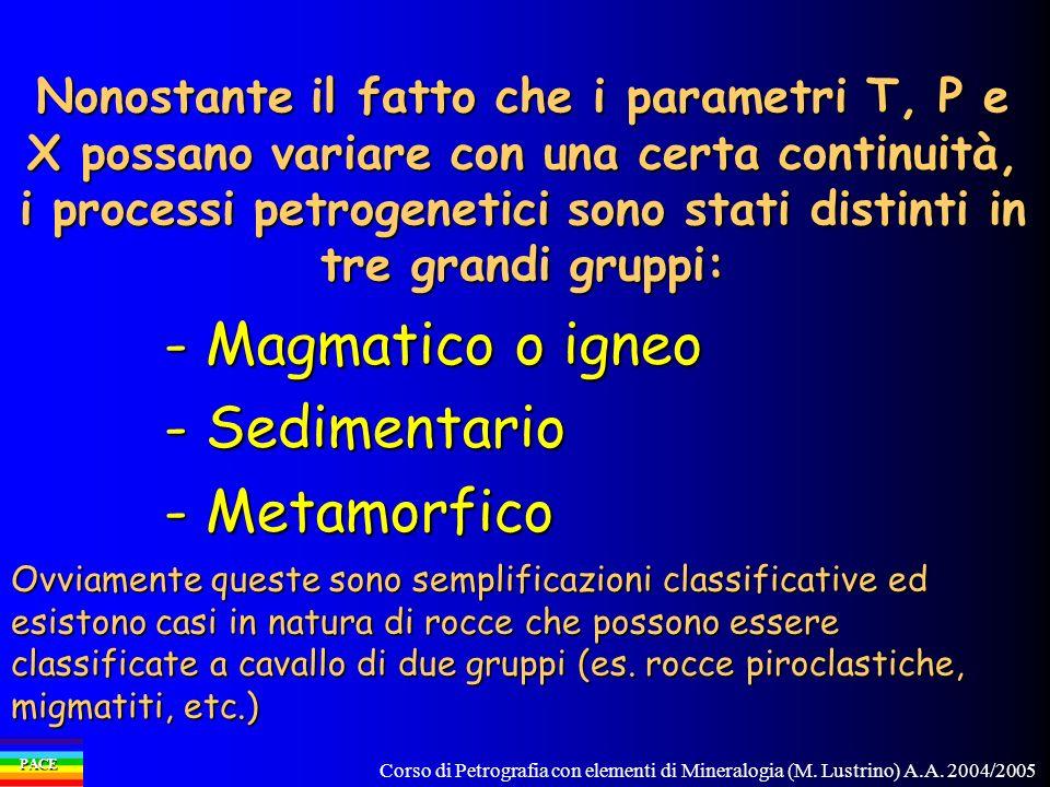 Corso di Petrografia con elementi di Mineralogia (M. Lustrino) A.A. 2004/2005 PACE - Magmatico o igneo - Sedimentario - Metamorfico Nonostante il fatt