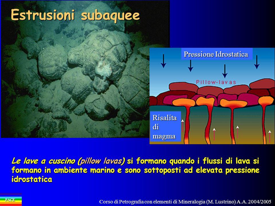 Corso di Petrografia con elementi di Mineralogia (M. Lustrino) A.A. 2004/2005 PACE Le lave a cuscino (pillow lavas) si formano quando i flussi di lava