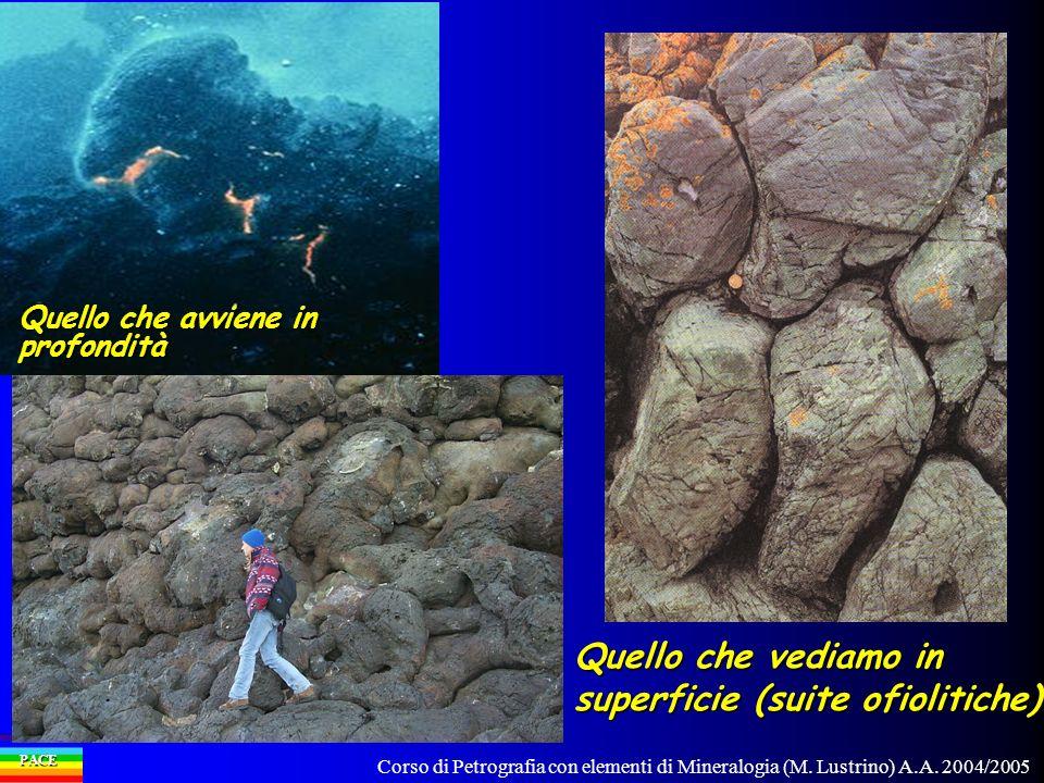 Corso di Petrografia con elementi di Mineralogia (M. Lustrino) A.A. 2004/2005 PACE Quello che avviene in profondità Quello che vediamo in superficie (