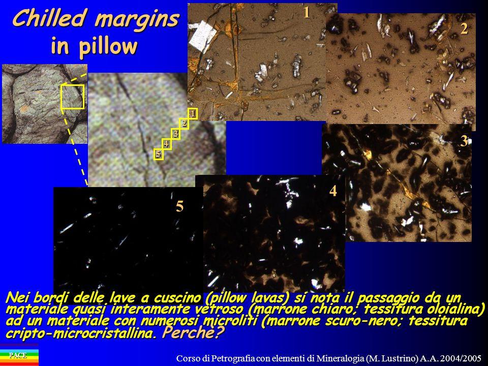 Corso di Petrografia con elementi di Mineralogia (M. Lustrino) A.A. 2004/2005 PACE Chilled margins in pillow 11 2 2 3 3 44 55 Nei bordi delle lave a c