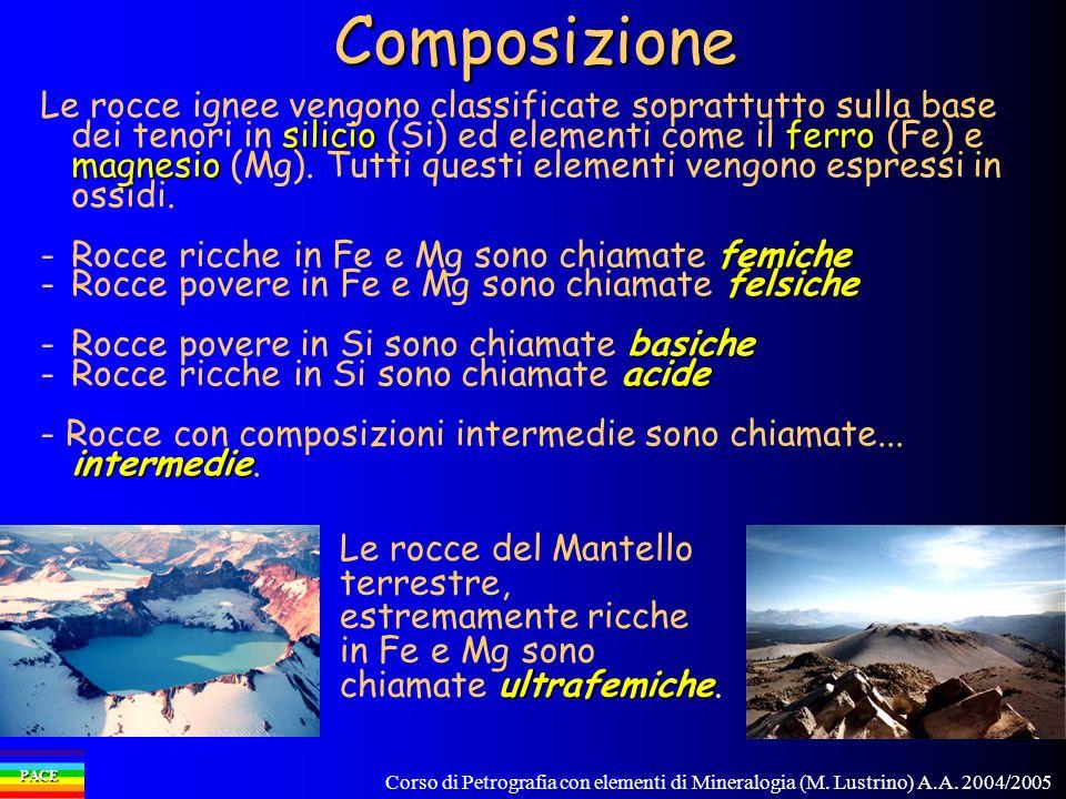 Corso di Petrografia con elementi di Mineralogia (M. Lustrino) A.A. 2004/2005 PACEComposizione silicioferro magnesio Le rocce ignee vengono classifica