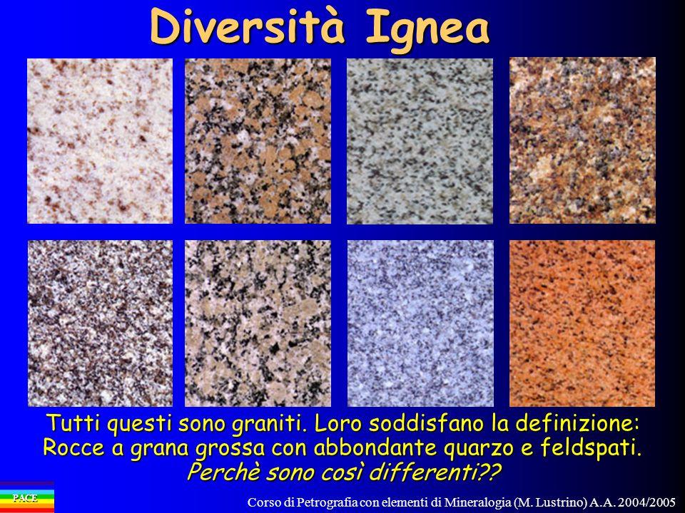 Corso di Petrografia con elementi di Mineralogia (M. Lustrino) A.A. 2004/2005 PACE Diversità Ignea Tutti questi sono graniti. Loro soddisfano la defin