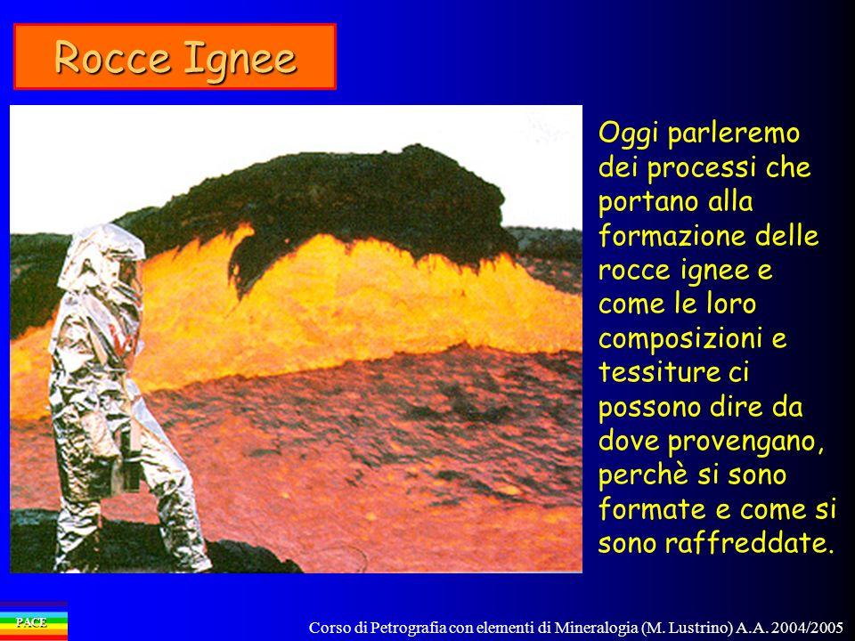 Corso di Petrografia con elementi di Mineralogia (M. Lustrino) A.A. 2004/2005 PACE Rocce Ignee Oggi parleremo dei processi che portano alla formazione