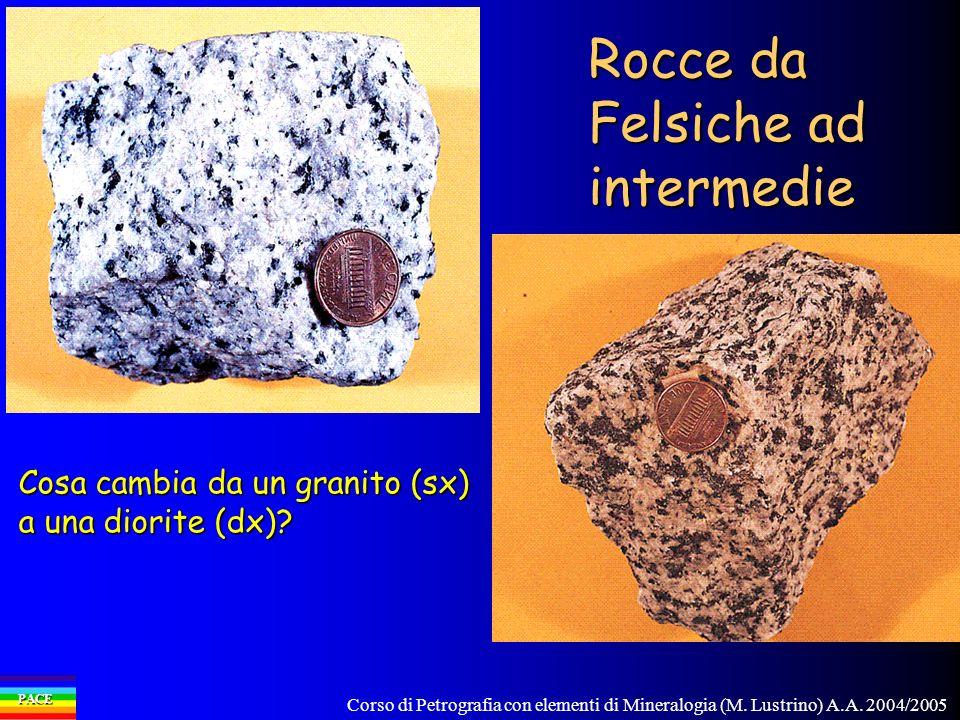 Corso di Petrografia con elementi di Mineralogia (M. Lustrino) A.A. 2004/2005 PACE Rocce da Felsiche ad intermedie Cosa cambia da un granito (sx) a un